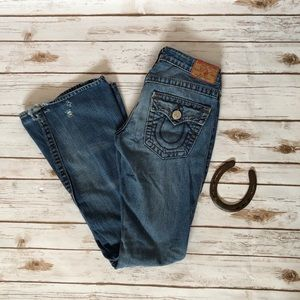 💜TRUE RELIGION light distressed flare jeans